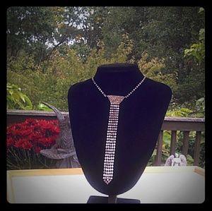 TRUE VINTAGE Pave Rhinestone Necktie Adj Necklace